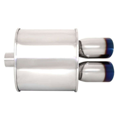 "Megan Universal Muffler 3.5"" Tip/2.4"" Inlet Silver Chrome Dual Rolled Blue Tip-Exhaust Parts-BuildFastCar"