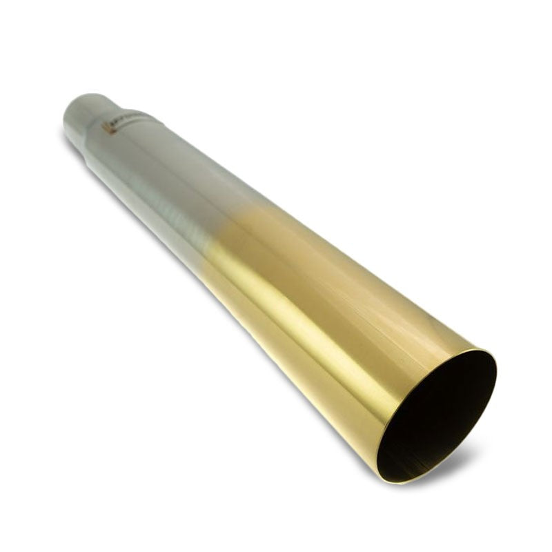 "Megan 3""-4"" Single Straight Burnt Gold Universal VIP Blast Exhaust Muffler Tip"