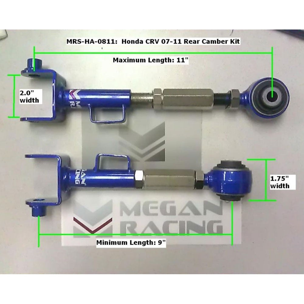 Megan Racing Blue Rear Upper Camber Control Arm Alignment Kit For 07-11 CR-V