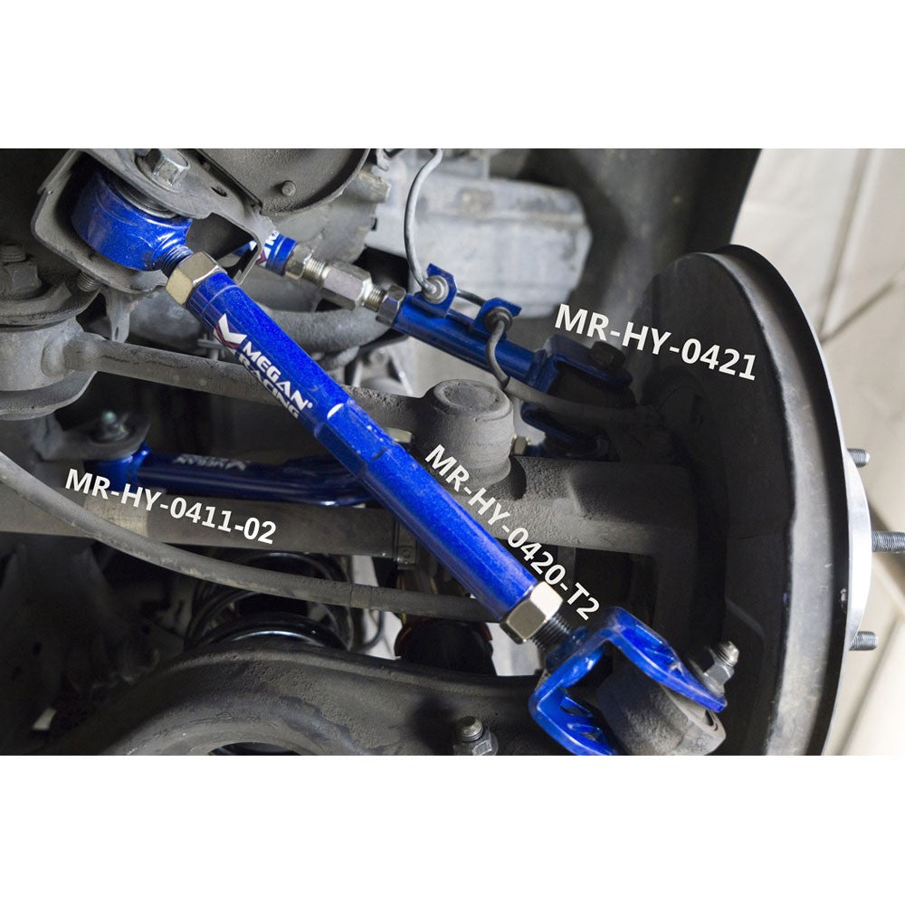 Megan Racing Blue Adjust Camber/Trailing/Control Arm Kit For 10-15 Genesis Coupe-Suspension Arms-BuildFastCar