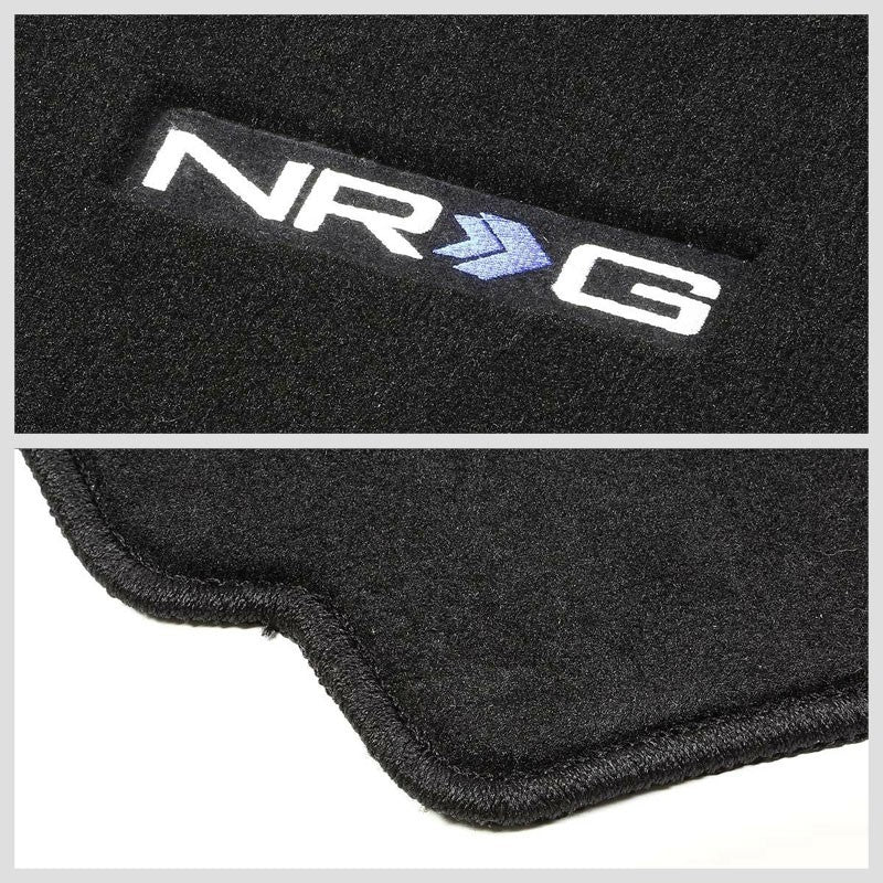 NRG Innovations Logo Front Black Floor Mats Carpet Pads Rug For 88-91 Civic/CRX-Pedals & Pads-BuildFastCar