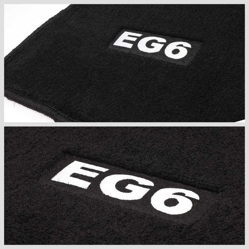 NRG Innovations EG6 Logo Front/Rear Black Floor Mats Carpet Pads For 92-95 Civic-Pedals & Pads-BuildFastCar