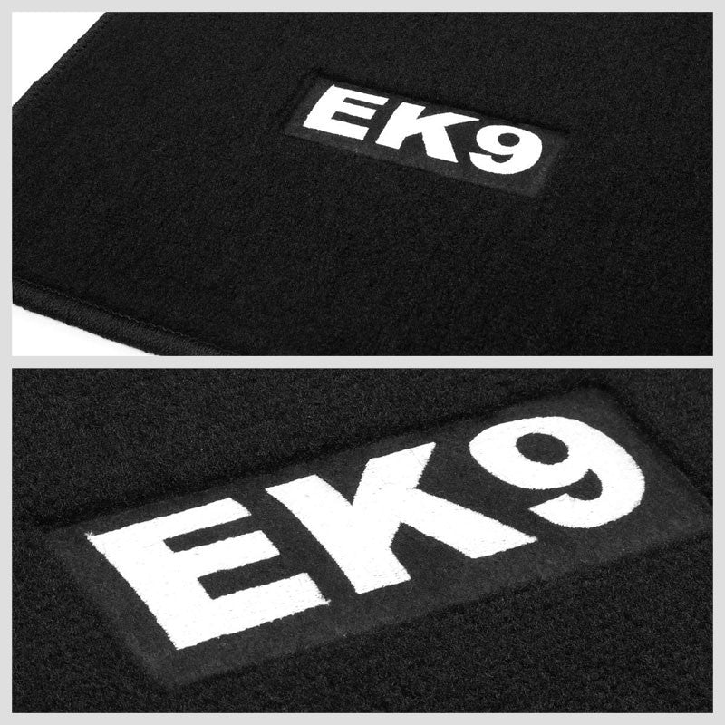 NRG Innovations EK9 Logo Front/Rear Black Floor Mats Carpet Pads For 96-00 Civic-Pedals & Pads-BuildFastCar