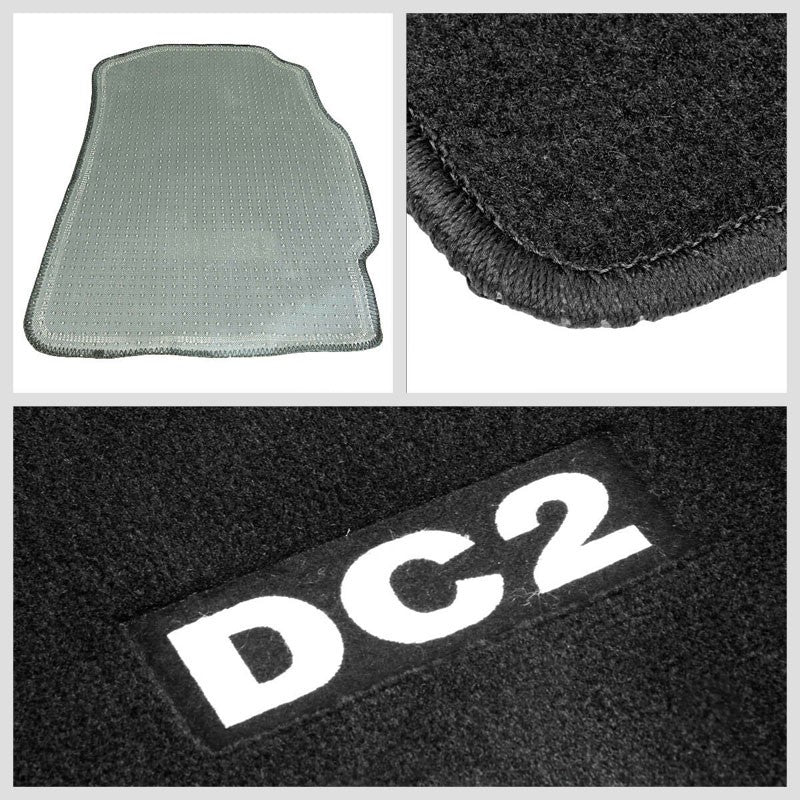 NRG Innovations DC2 Logo Front Floor Mats Carpet Pads For 94-01 Integra DC2-Pedals & Pads-BuildFastCar