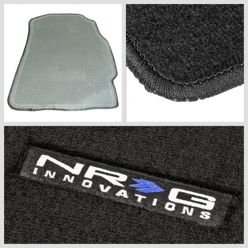 NRG Innovations Logo Front/Rear Floor Mats Carpet Pads Rug For 02-06 Integra DC5-Pedals & Pads-BuildFastCar