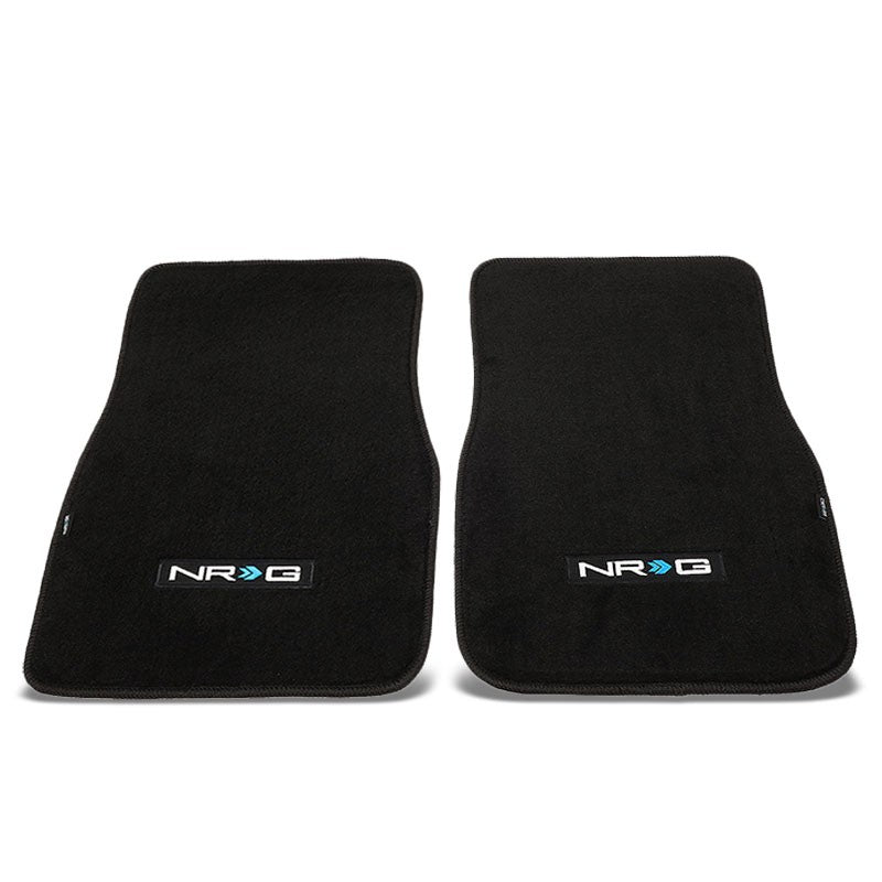 "NRG Innovations Logo LxW 17""x26-1/4"" Front Black Floor Mats Carpet Pads Rug-Pedals & Pads-BuildFastCar"