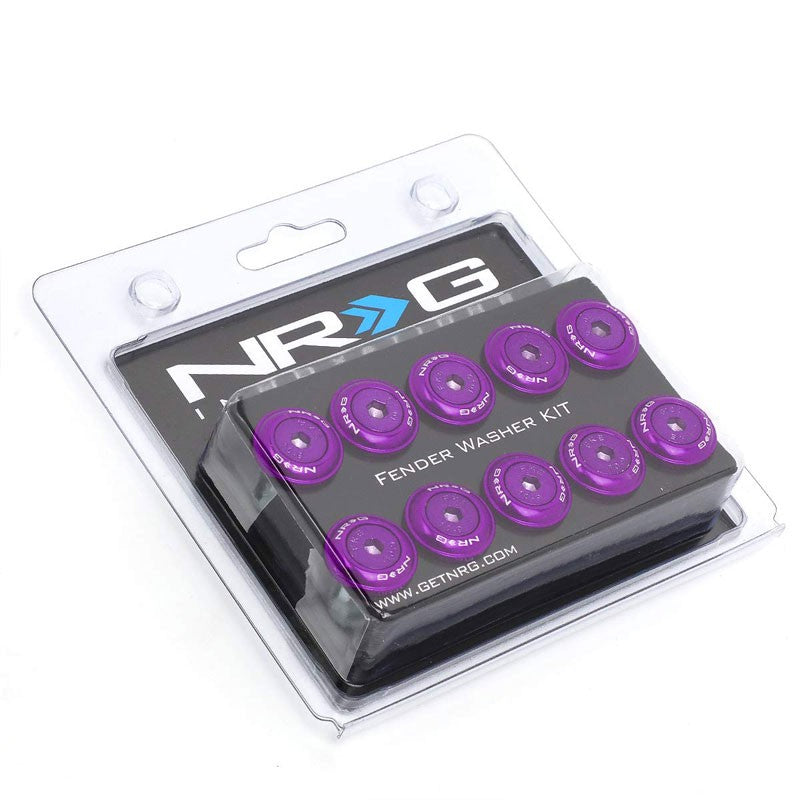 NRG 10PC Rivets for Plastic 20MM Bumper Trunk Lids Fender Washer Kit Purple/Bolt-Washer-BuildFastCar