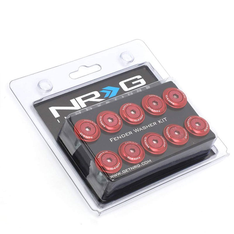 NRG 10PC Rivets for Plastic 20MM Bumper Trunk Lids Fender Washer Kit Red/Bolt-Washer-BuildFastCar