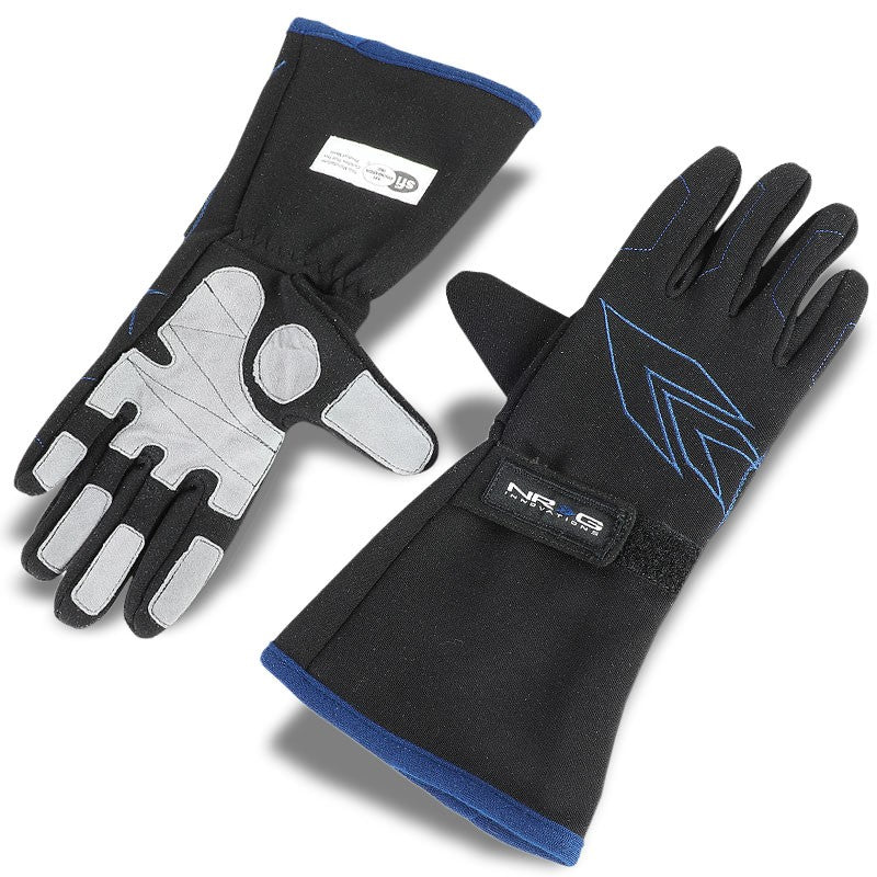 NRG GS-500BK-M Medium Size Race Double Layer Full Finger Gloves SFI