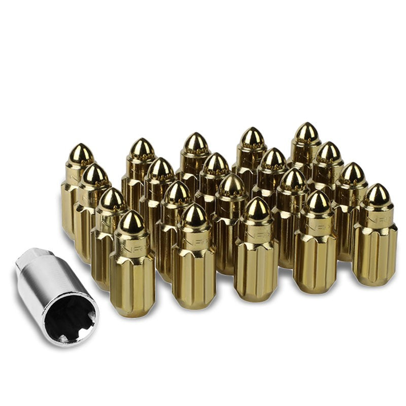 NRG Chrome Gold Bullet Shape M12x1.5 Steel Wheel/Rim Lock Lug Nuts+Adapter Key-Car & Truck Wheels-BuildFastCar