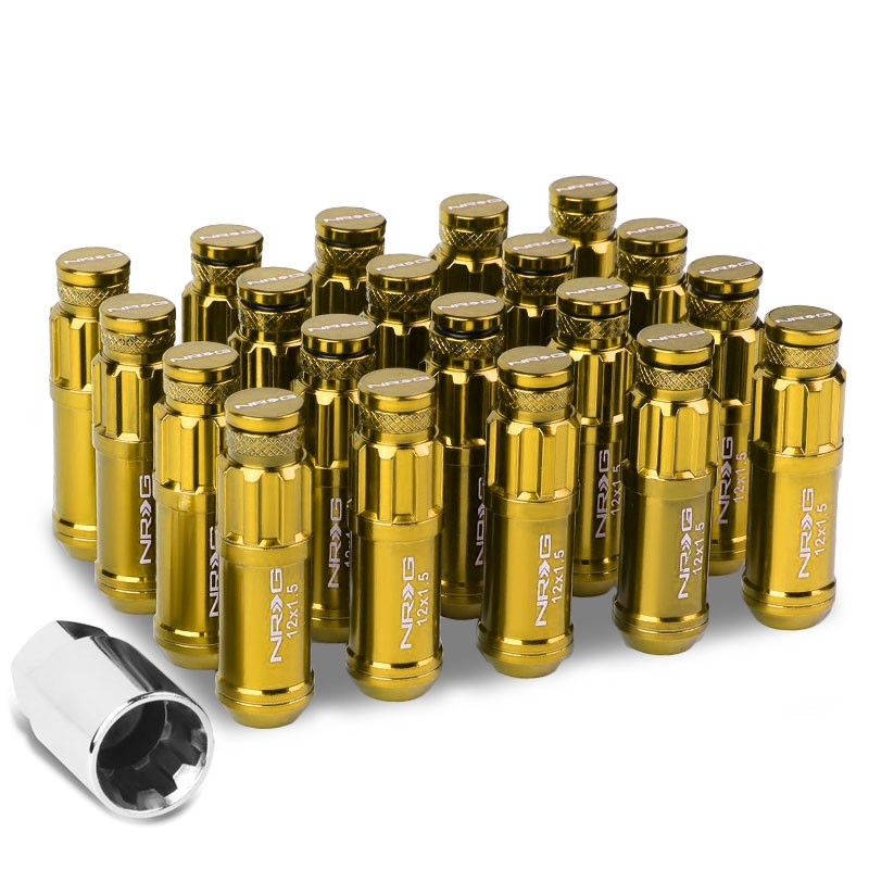 NRG Chrome Gold Closed End Spline M12x1.5 Steel Wheel/Rim Lock Lug Nuts+Key-Car & Truck Wheels-BuildFastCar