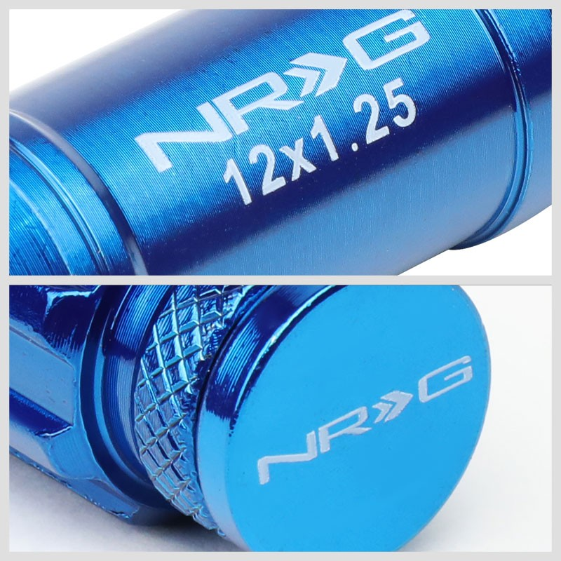 NRG Blue Closed End Spline M12x1.25 Steel Wheel/Rim Lock Lug Nuts+Adapter Key-Car & Truck Wheels-BuildFastCar