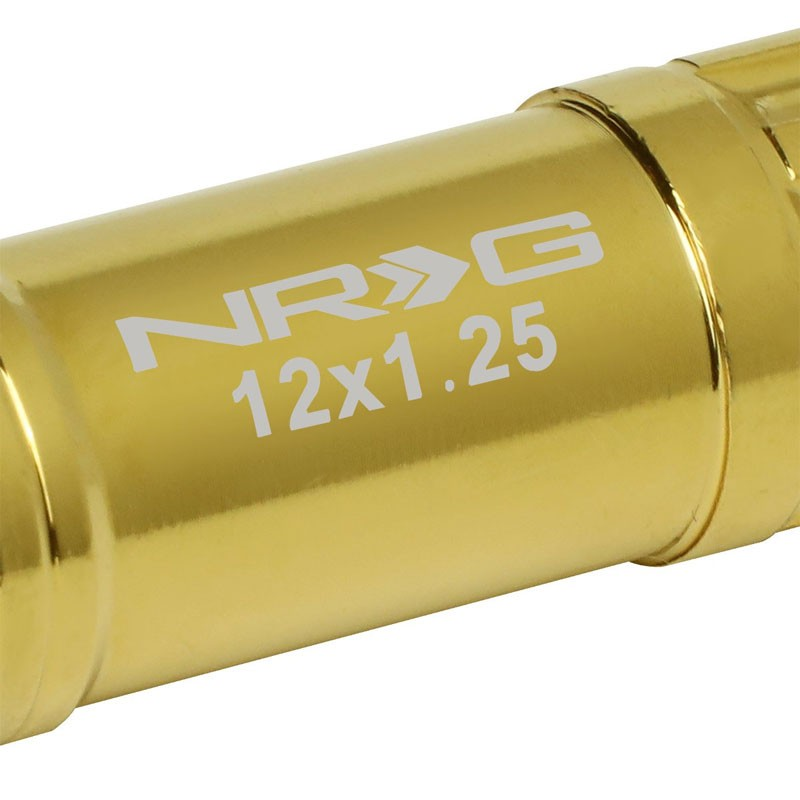 NRG Chrome Gold Closed End Spline M12x1.25 Steel Wheel/Rim Lock Lug Nuts+Key-Car & Truck Wheels-BuildFastCar