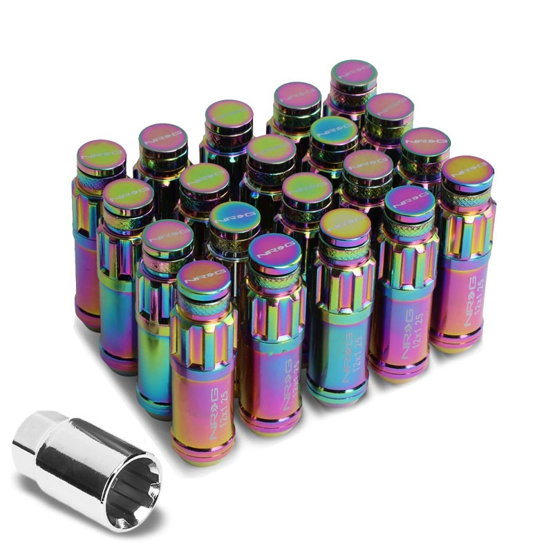 NRG Neo Chrome Closed End Spline M12x1.25 Steel Wheel/Rim Lock Lug Nuts+Key-Car & Truck Wheels-BuildFastCar