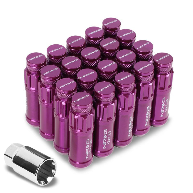 NRG Purple Closed End Spline M12x1.25 Steel Wheel/Rim Lock Lug Nuts+Adapter Key-Car & Truck Wheels-BuildFastCar