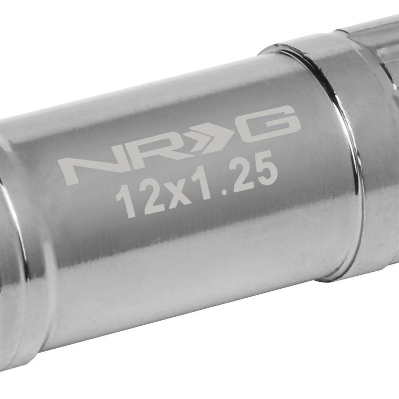 NRG SIlver Closed End Spline M12x1.25 Steel Wheel/Rim Lock Lug Nuts+Adapter Key-Car & Truck Wheels-BuildFastCar