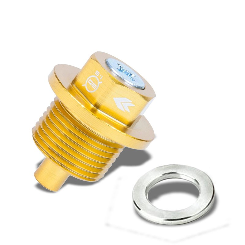 M20 x 1.5 NRG Gold Aluminum 5000 Gauss Magnetic Oil Drain Plug For Subaru-Performance-BuildFastCar