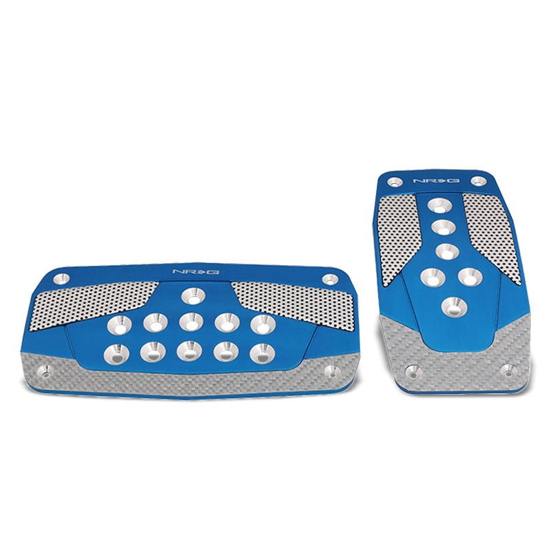 NRG NRG-PDL-450BL Brake/Gas Automatic AT Blue/Carbon Foot Pedal Plates Cover Set-Pedals & Pads-BuildFastCar