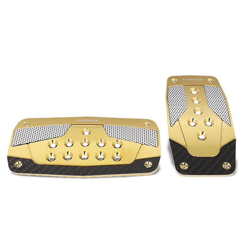 NRG NRG-PDL-450CG Brake/Gas Automatic AT Chrome Gold Foot Pedal Plates Cover Set-Pedals & Pads-BuildFastCar