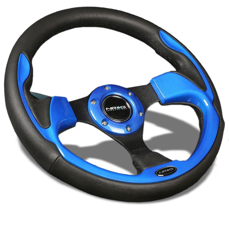 Black Leather/Blue Thumbrest 320mm RST-001BL NRG Steering Wheel+Horn Button-Interior-BuildFastCar