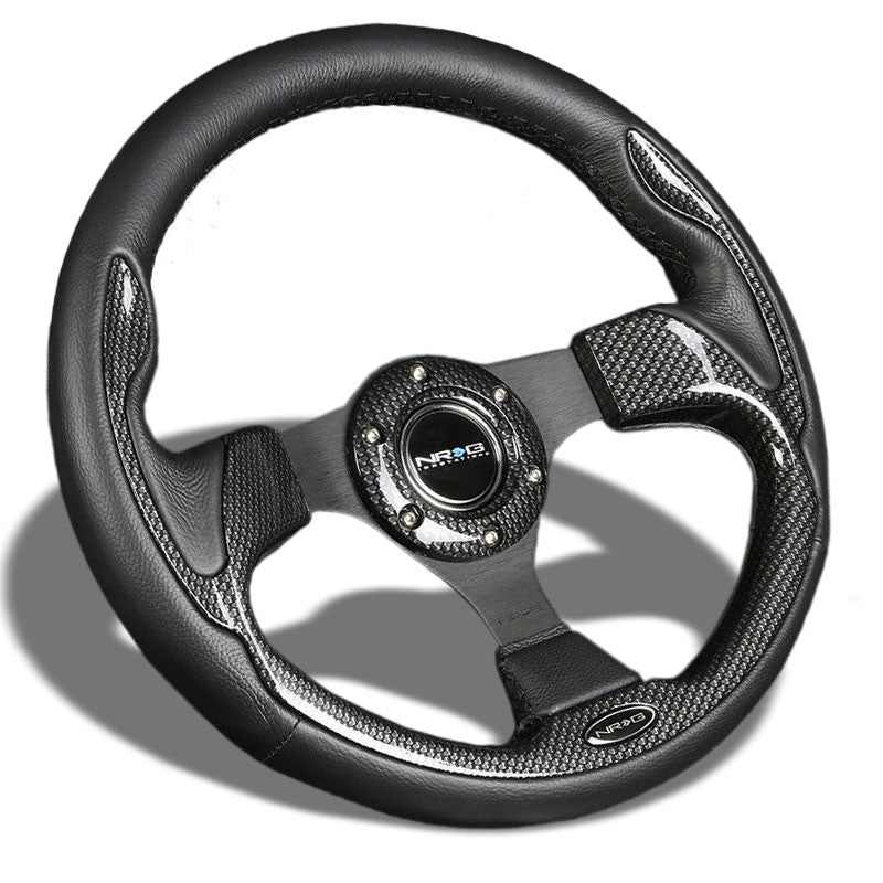 Black Leather/Carbon Thumbrest 320mm RST-001CBL NRG Steering Wheel+Horn Button-Interior-BuildFastCar