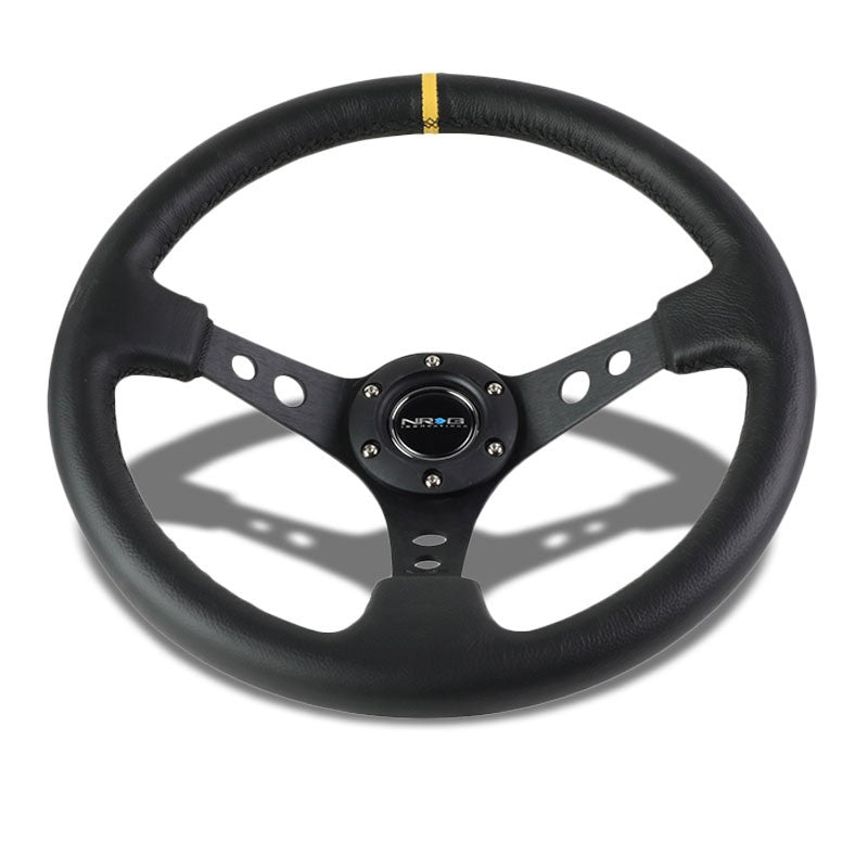 "Black Round Holes Spoke/YW Stripe 350mm 3"" Deep RST-006BK-Y NRG Steering Wheel-Interior-BuildFastCar"