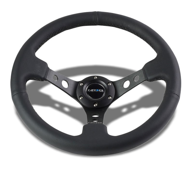 "Black Leather/Round Holes Spoke 350mm 3"" Deep RST-006BK NRG Steering Wheel+Horn-Interior-BuildFastCar"