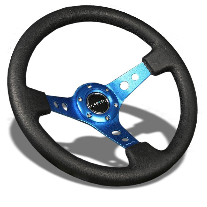"Black Leather/Blue Round Holes 350mm 3"" Deep RST-006BL NRG Steering Wheel+Horn-Interior-BuildFastCar"