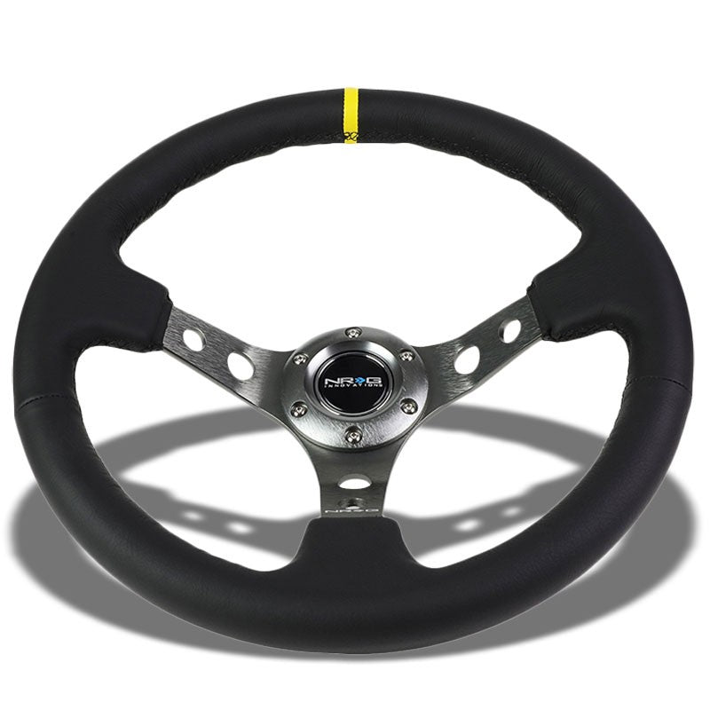 NRG Black Leather/Gunmetal Spokes/Stripe Deep Dish 6-Bolt 350mm Steering Wheel-Interior-BuildFastCar