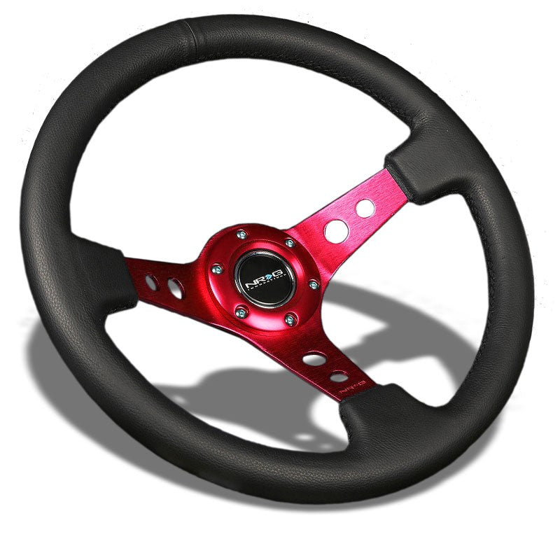 "Black Leather/Red Round Holes 350mm 3"" Deep RST-006RD NRG Steering Wheel+Horn-Interior-BuildFastCar"