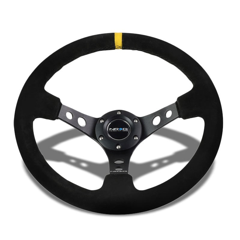 "Black Round Holes/Yellow Stripe 350mm 3"" Deep RST-006S-Y NRG Steering Wheel+Horn-Interior-BuildFastCar"
