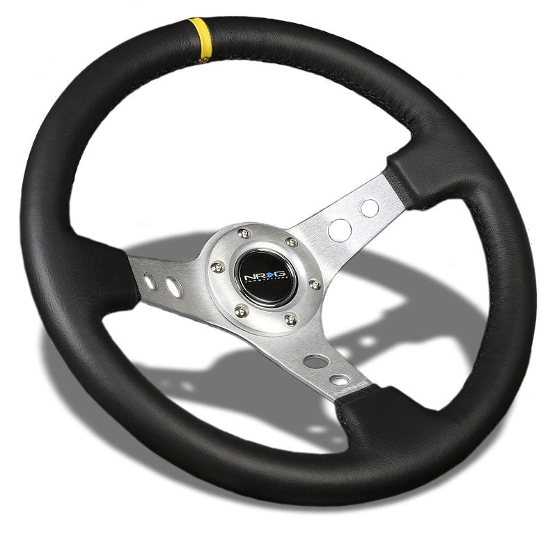 "Silver Round Holes/YW Stripe 350mm 3"" Deep RST-006SL-Y NRG Steering Wheel+Horn-Interior-BuildFastCar"
