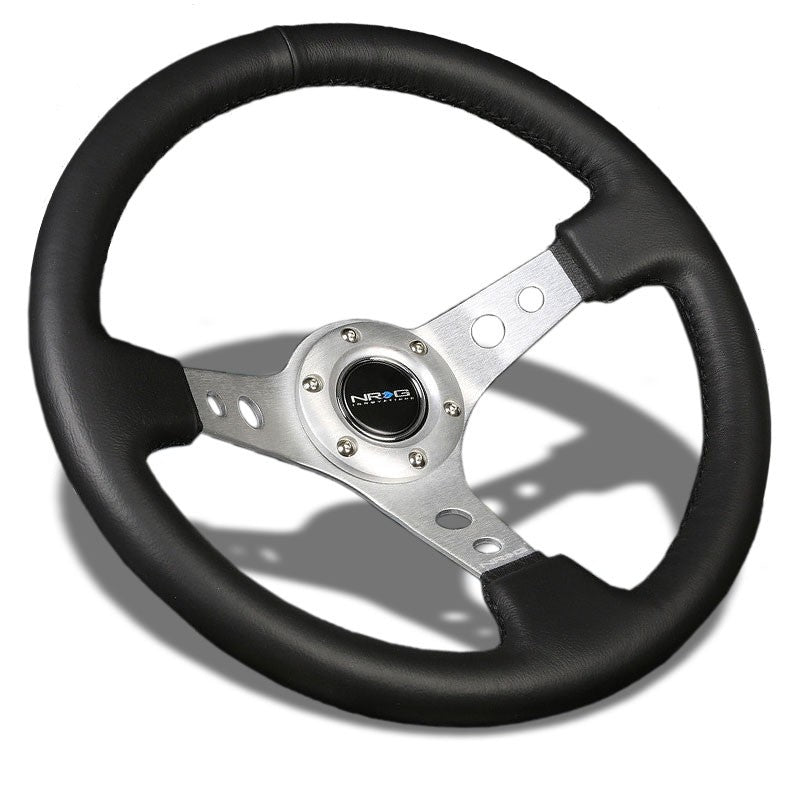 "Black Leather/Silver Round Holes 350mm 3"" Deep RST-006SL NRG Steering Wheel+Horn-Interior-BuildFastCar"