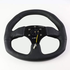 Black Leather/Spoke D-Shape Flat Bottom 320mm/330mm RST-009R NRG Steering Wheel-Interior-BuildFastCar