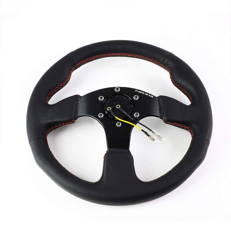 Black Thumb Grip/Red Stitch 320mm RST-012R-RS NRG Steering Wheel+Horn Button-Interior-BuildFastCar