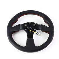 Black Thumb Grip Leather/Spoke 320mm RST-012R NRG Steering Wheel+Horn Button-Interior-BuildFastCar