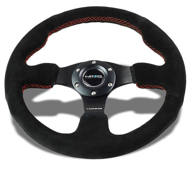 Black Grip Suede/Red Stitch 320mm RST-012S-RS NRG Steering Wheel+Horn Button-Interior-BuildFastCar