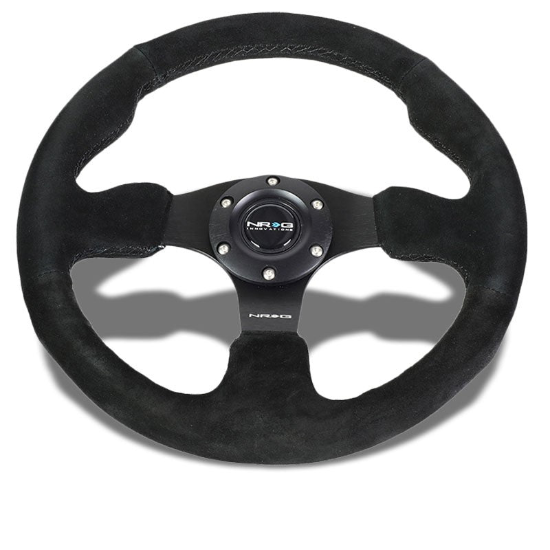Black Thumb Grip Suede/Black Spoke 320mm RST-012S NRG Steering Wheel+Horn Button-Interior-BuildFastCar