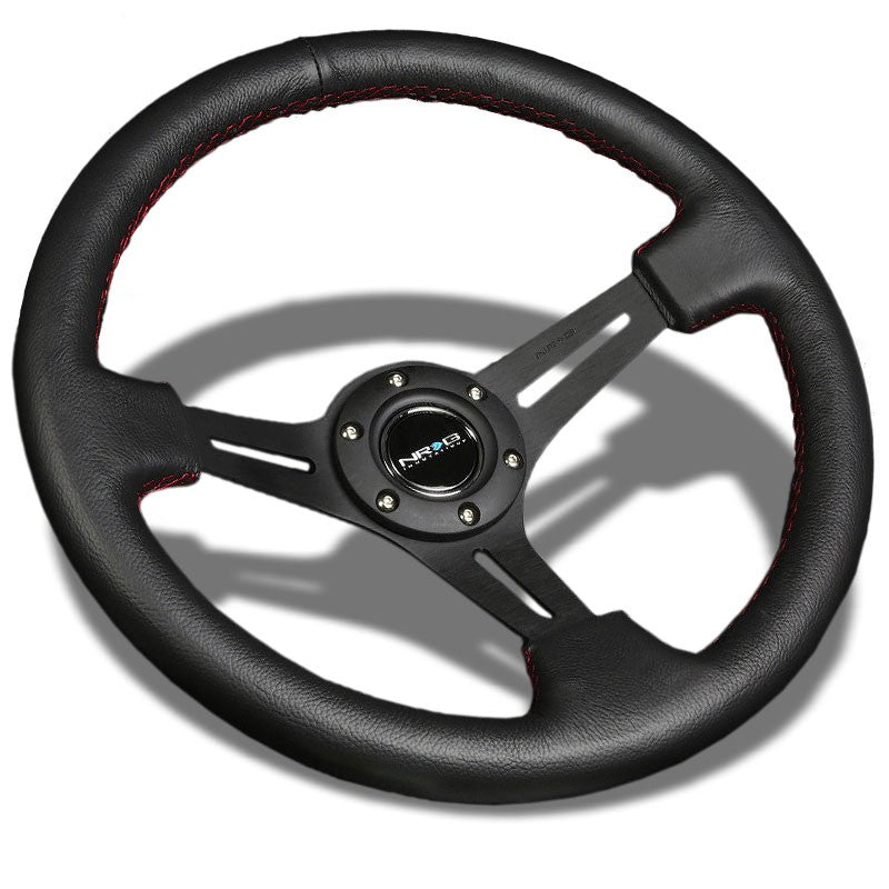 "Black Slit Holes/Red Stitch 350mm 3"" Deep RST-018R-RS NRG Steering Wheel+Horn-Interior-BuildFastCar"