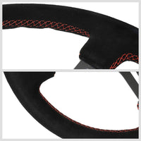 NRG RST-018S-RS Black Suede/Slit Holes 3 Spoke Steering Wheel+Horn Button-Interior-BuildFastCar