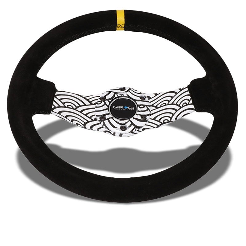 Black/White Cloud Waves 310mm RST-021S-WAVE-Y NRG Steering Wheel+Horn Button-Interior-BuildFastCar