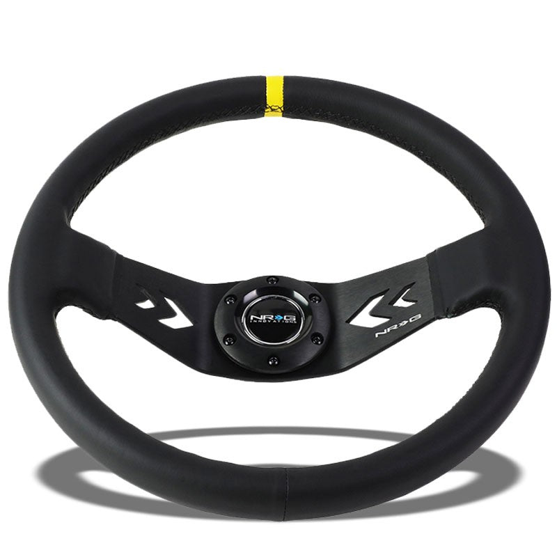 NRG Black Leather/2 Spokes/Yellow Stripe Deep Dish 6-Bolt 350mm Steering Wheel-Interior-BuildFastCar