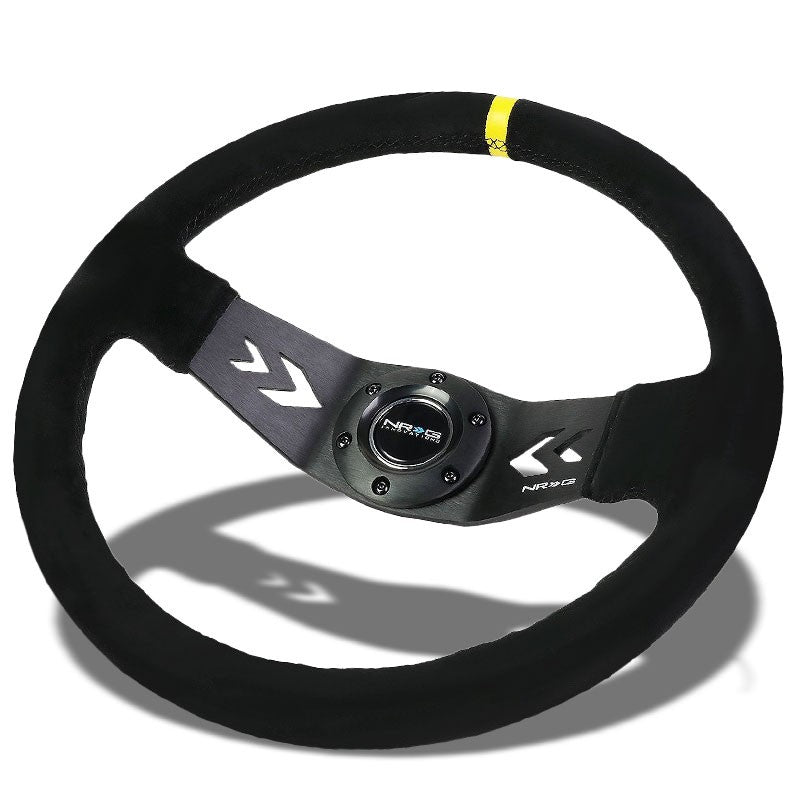 NRG Black Suede/2 Spokes/Yellow Stripe Deep Dish 6-Bolt 350mm Steering Wheel-Interior-BuildFastCar