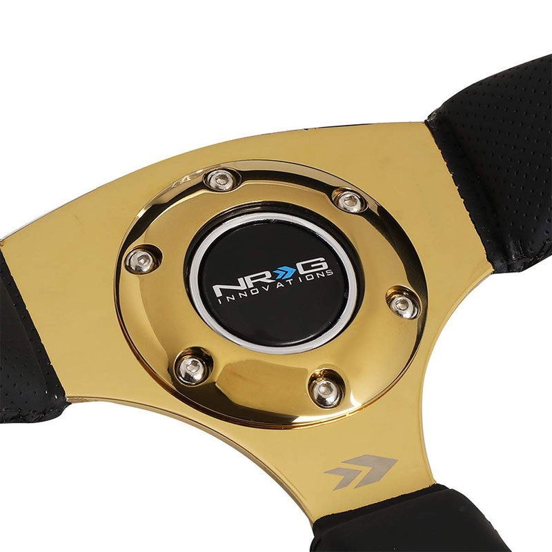 "Black Thumb Grip Leather/Gold 350mm 2.5"" Deep RST-023GD-R NRG Steering Wheel-Interior-BuildFastCar"