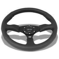 NRG RST-023MB-R Black Leather/Thumb Grip 3 Spoke Steering Wheel+Horn Button-Interior-BuildFastCar