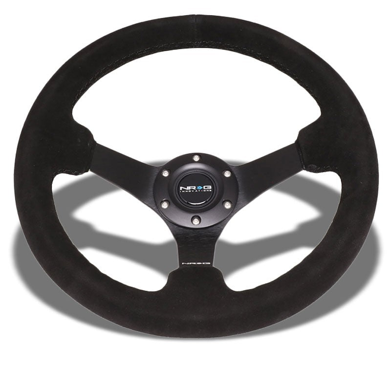 "Black Suede/Black Spoke 350mm 3"" Deep RST-033BK-S Classic NRG Steering Wheel-Interior-BuildFastCar"