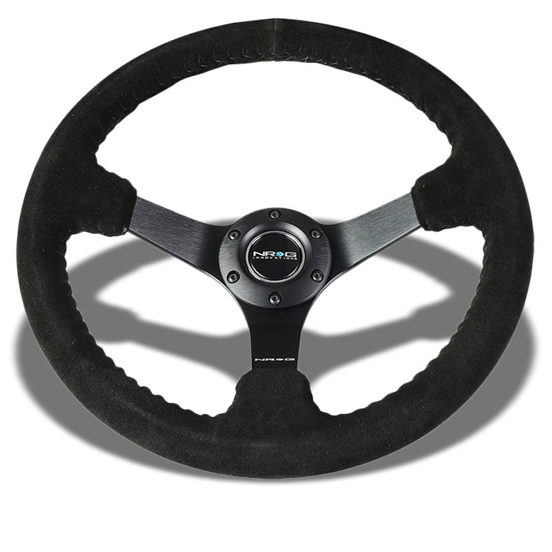 "Black Suede 350mm 3"" Deep RST-036MB-S-BK ""ODI"" Bakchis Inspired NRG Steer Wheel-Interior-BuildFastCar"
