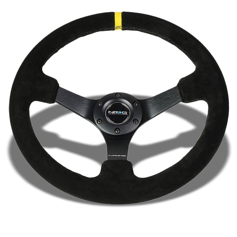 "Suede 350mm 3"" Deep RST-036MB-S-Y ""ODI"" Bakchis Inspired NRG Steering Wheel+Horn-Interior-BuildFastCar"