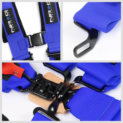 NRG SBH-5PCBL-620 5Point Latch Link Blue SFI 16.1 Race Seat Belt Harness Cushion-Seats & Components-BuildFastCar