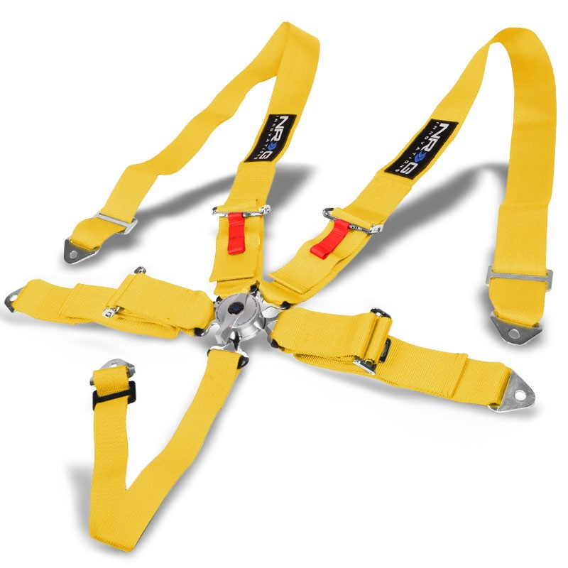NRG SBH-R6PCYL 5-Point Cam Lock Yellow SFI 16.1 Racing Seat Belt Harness